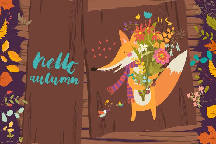 Thumbnail for Lovely autumn card with a fox and flowers