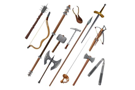 Set of Different Weapons