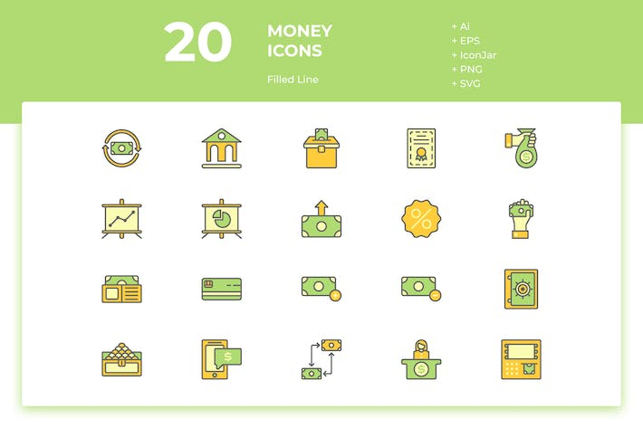 Thumbnail for 20 Money Icons (Filled Line)