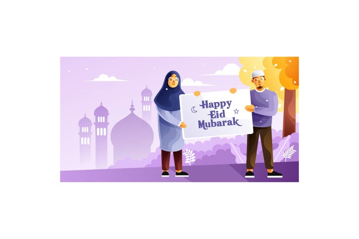 Thumbnail for Muslim couples hold a banner happy Eid Mubarak