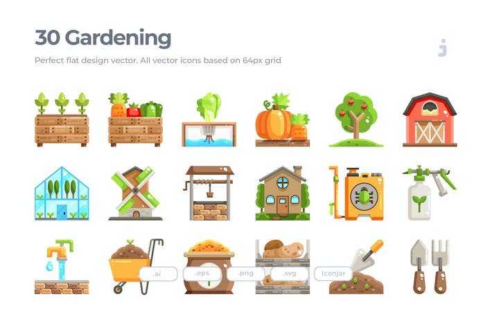 Thumbnail for 30 Farming and Gardening Icons - Flat