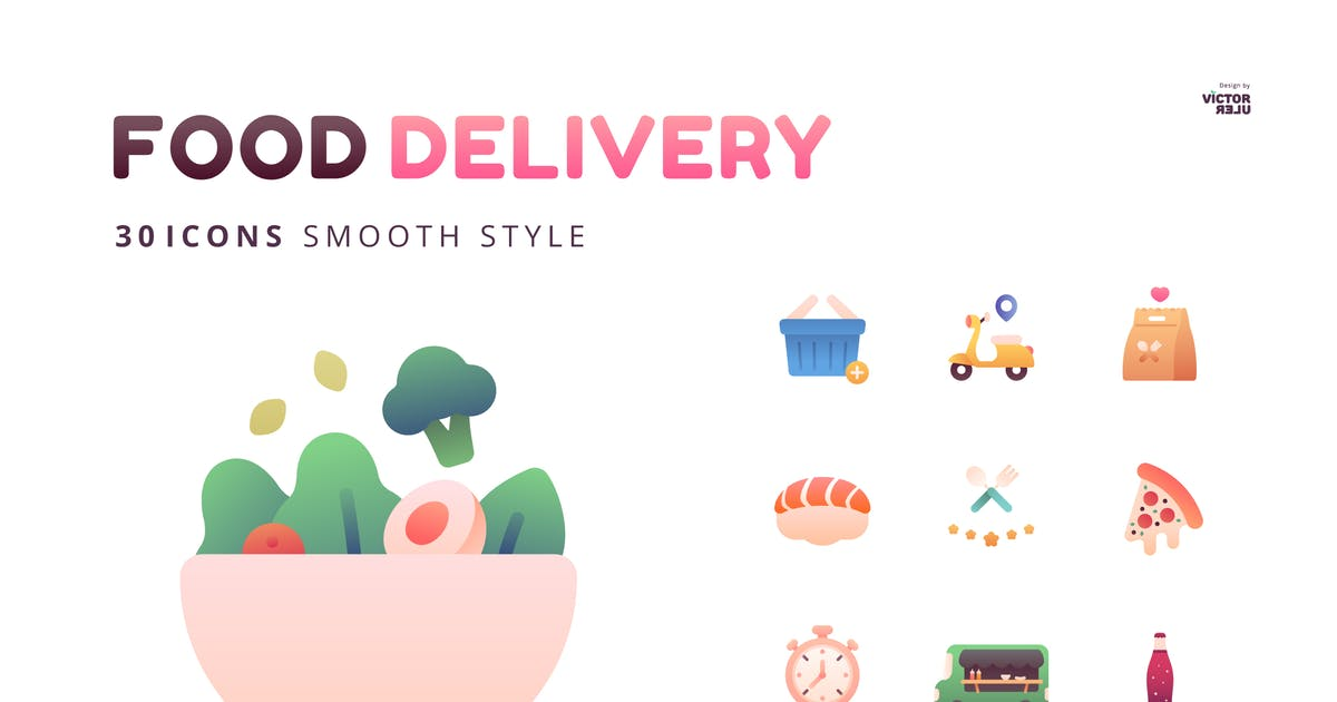 Download 30 Icons Food Delivery Smooth Style by Victoruler