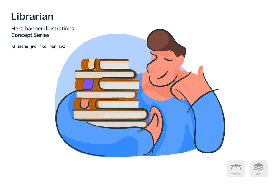 Librarian Occupation Vector Illustration