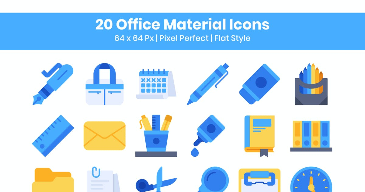 Download 20 Office Material Icons Set - Flat by kmgdesignid