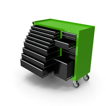 Opened Tool Box Green New