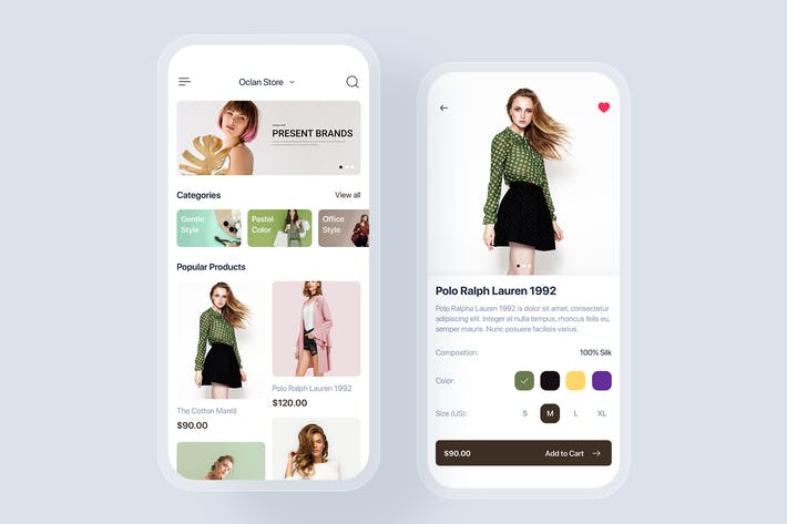 E-commerce mobile app UI concept