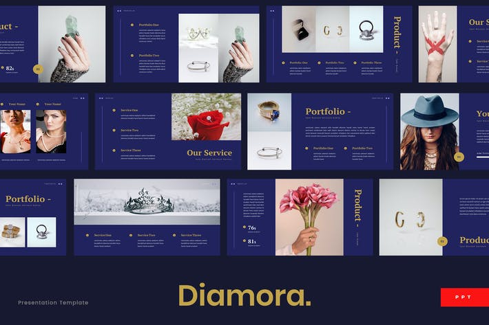 Cover Image For Diamora - Jewelry Powerpoint Presentation Template