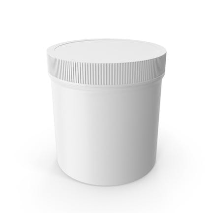 White Plastic Jar Wide Mouth Straight Sided 19oz Closed
