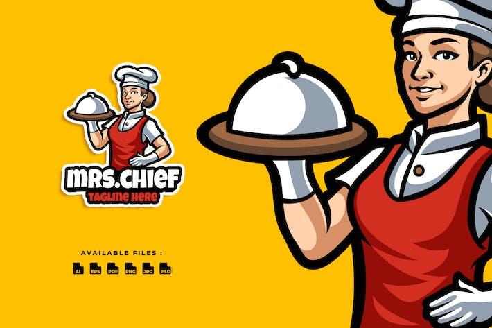 Mrs. Chief Cartoon Logo