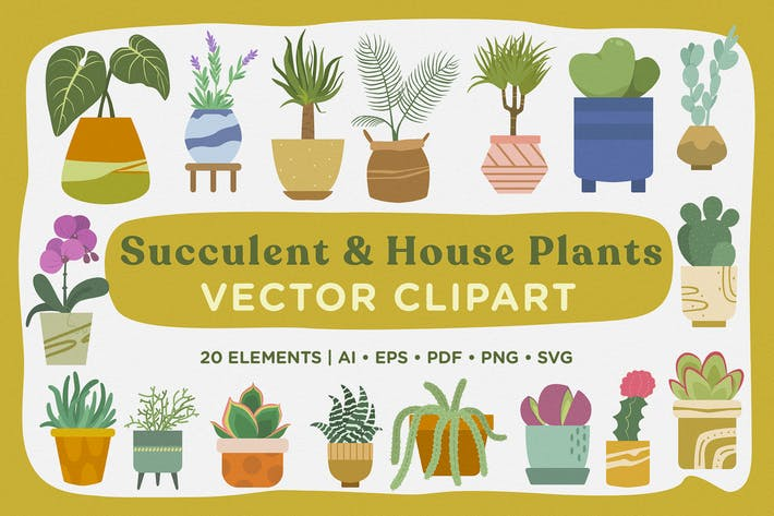 Thumbnail for Succulent & House Plants Vector Clipart Pack