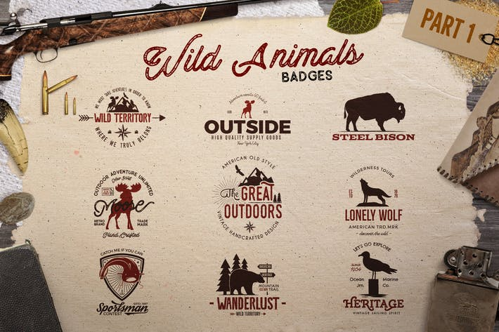 Cover Image For Wild Animals Vintage Logo / Badges [Part 1]