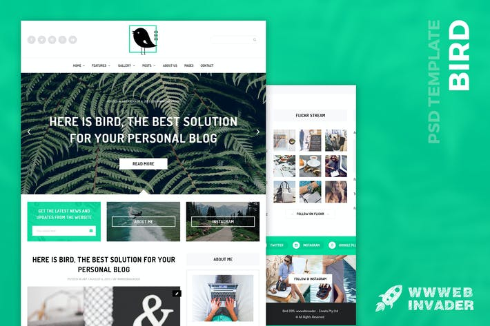 Thumbnail for Bird - Elegant Magazine Blog PSD Template