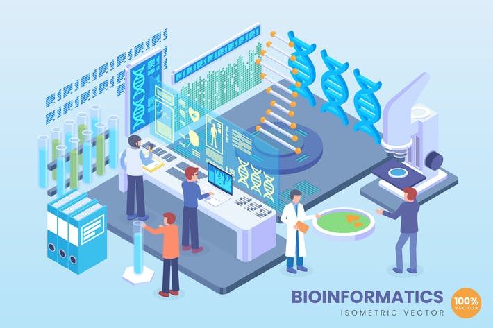 Thumbnail for Isometric Bioinformatics Technology Vector Concept