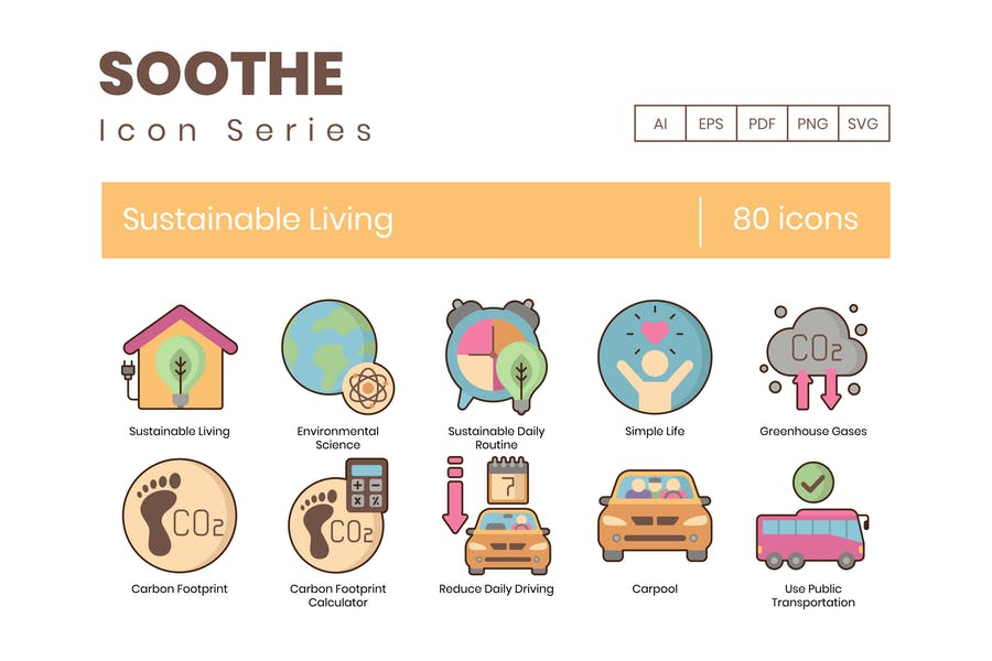 80 Sustainable Living Icons - Soothe-Serie