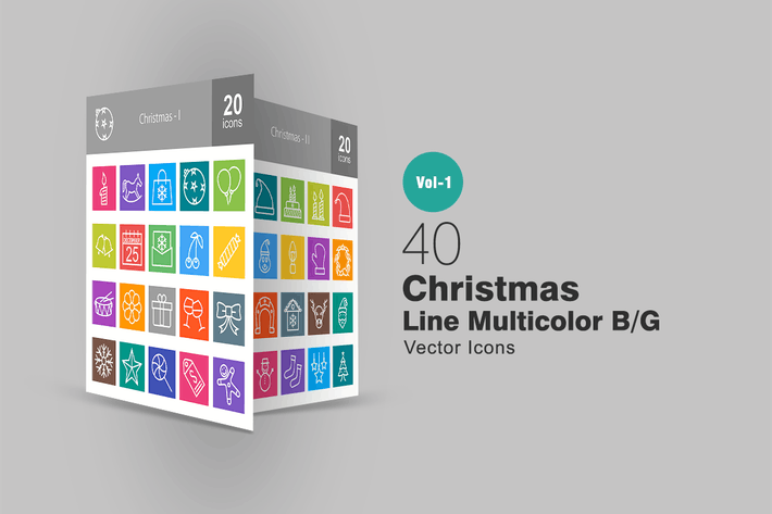 Thumbnail for 40 Christmas Line Multicolor Icons
