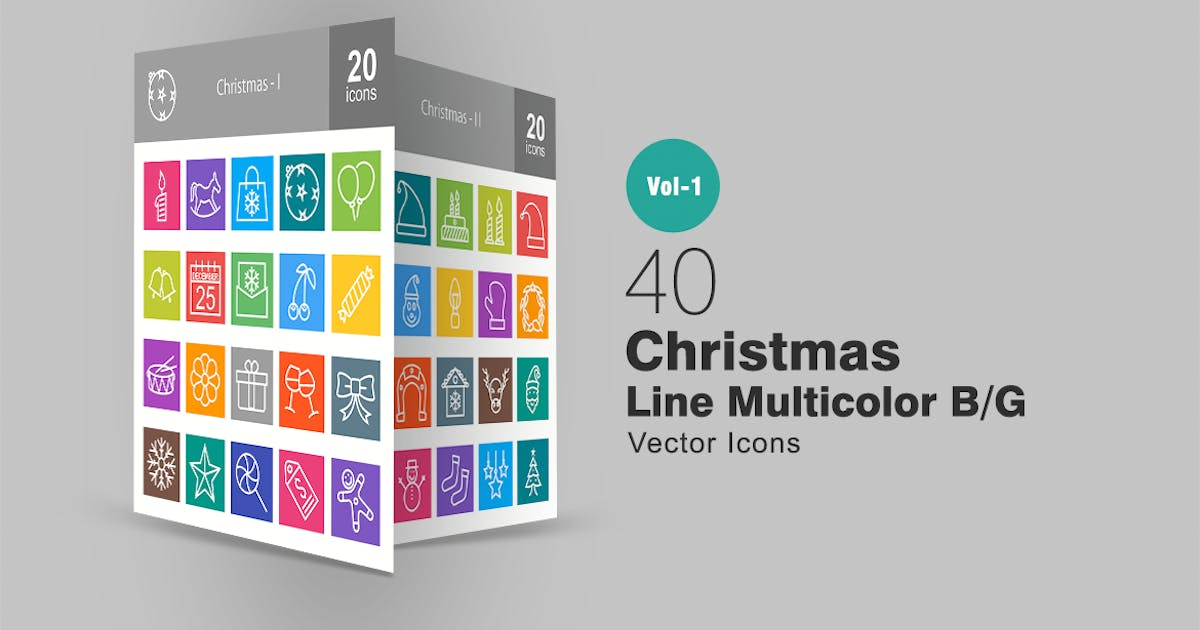 Download 40 Christmas Line Multicolor Icons by IconBunny