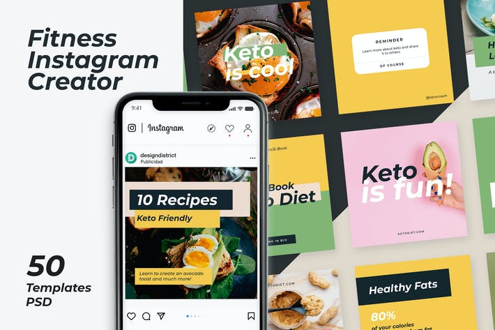 Thumbnail for Fitness Instagram Templates