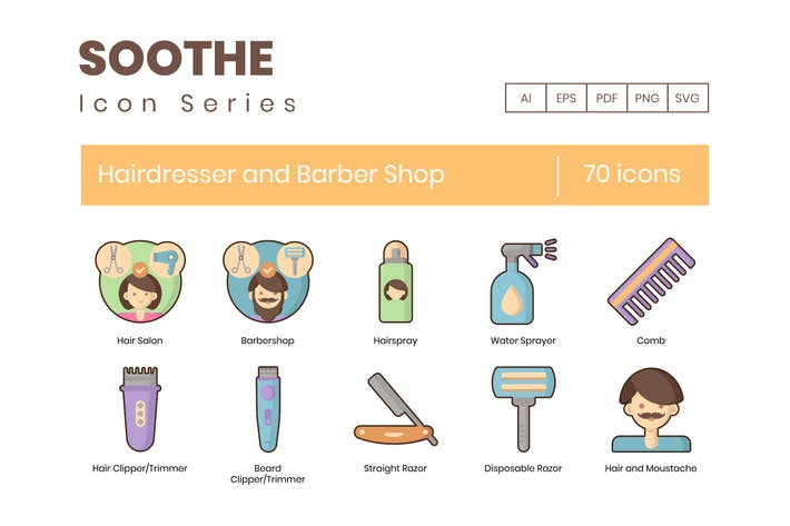 70 Hairdresser & Barbershop Icons - Soothe Series