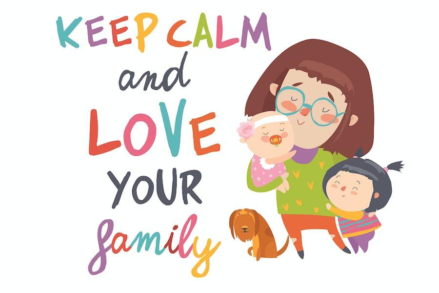 Cartoon junge Mutter mit ihren niedlichen Kindern.