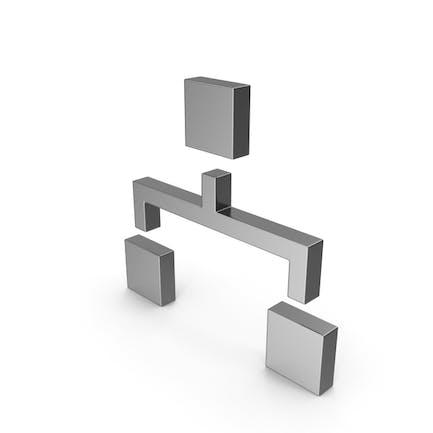 Symbol-Computer-Netzwerk Stahl