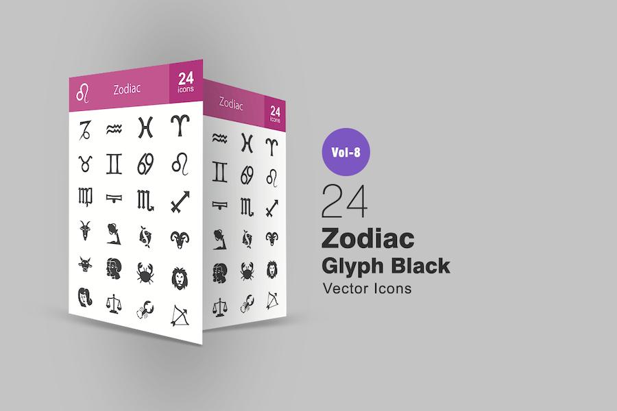 24 Zodiac Glyph Icons