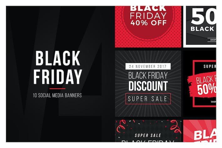 Thumbnail for Black Friday Social Media Banners V4