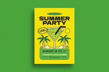 Tropical Summer Cocktail Party Event Flyer
