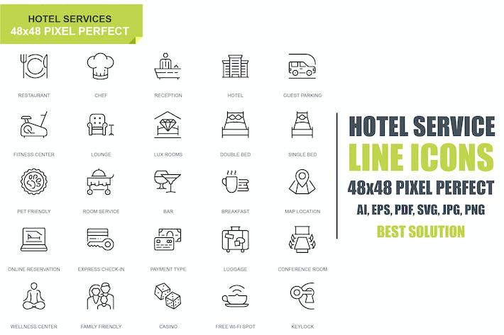 Cover Image For Simple Set Hotel Service Line Icons