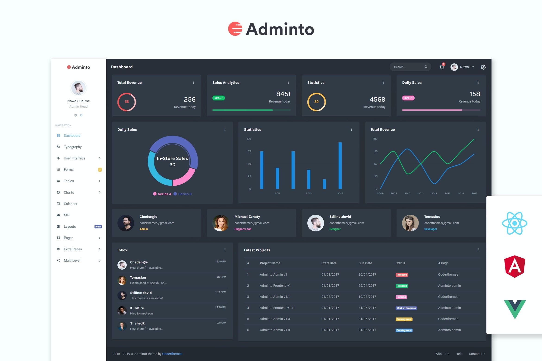 Adminto - Admin Dashboard + Angular, React, Vuejs by