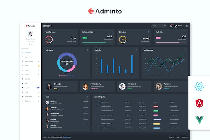 Thumbnail for Adminto - Admin Dashboard + Angular, React, Vuejs