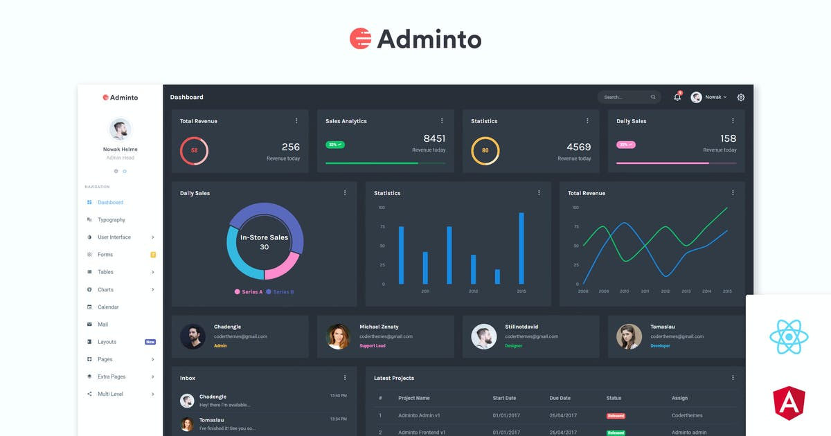 Download Adminto - Admin Dashboard + Angular, React, Vuejs by coderthemes