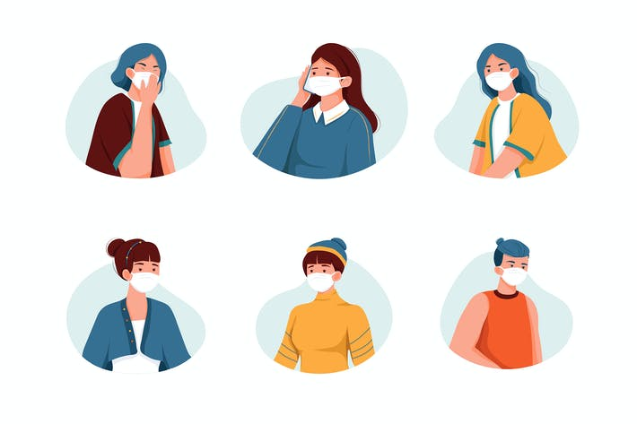 Thumbnail for People wearing medical mask vector Illustration.