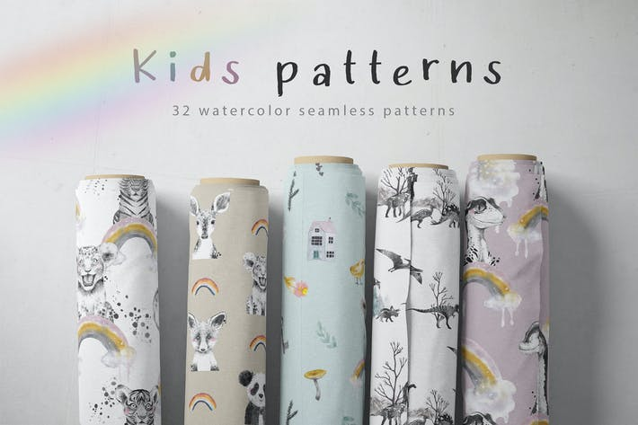 Thumbnail for Watercolor kids patterns