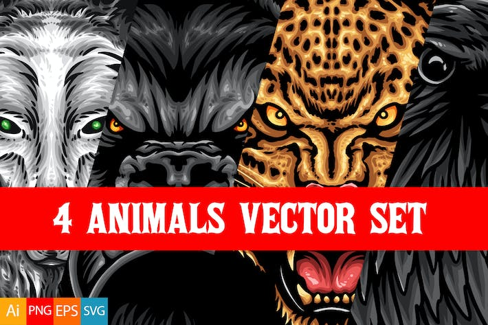 Thumbnail for 4 Animals Vector Set