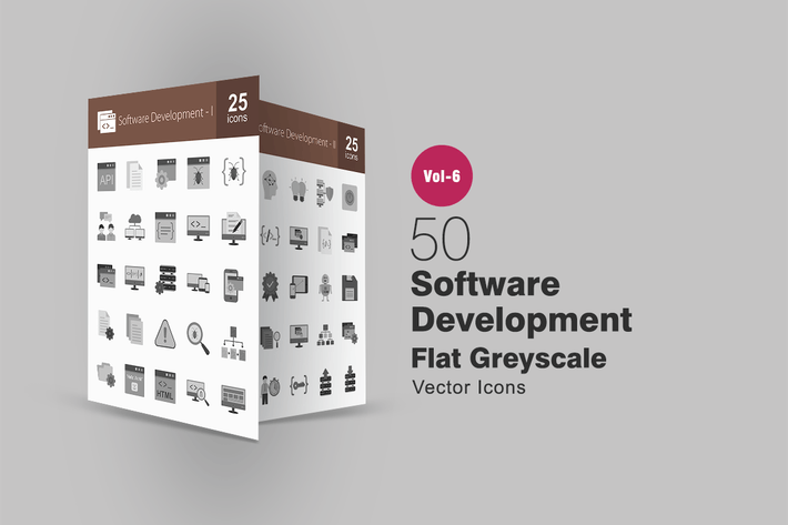 Thumbnail for 50 Software Development Flat Greyscale Icons
