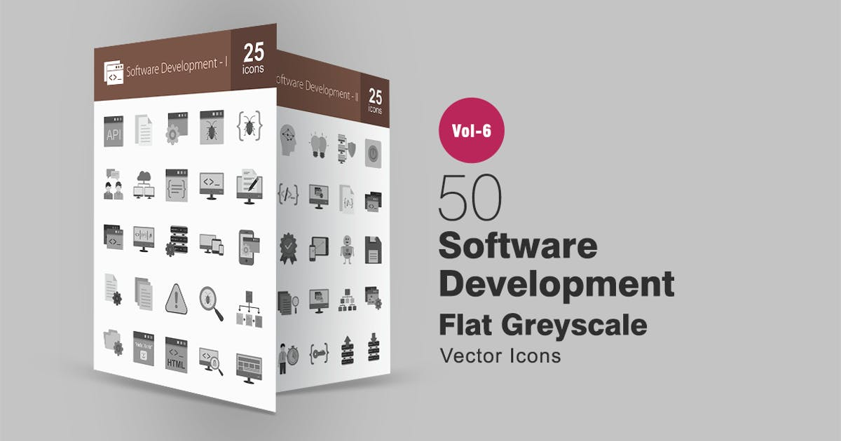 Download 50 Software Development Flat Greyscale Icons by Unknow