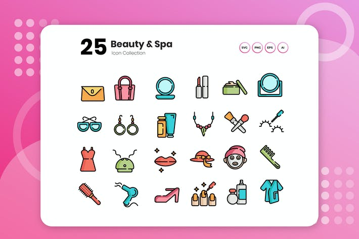 Thumbnail for 25 Beauty & Spa Flat Icon Set