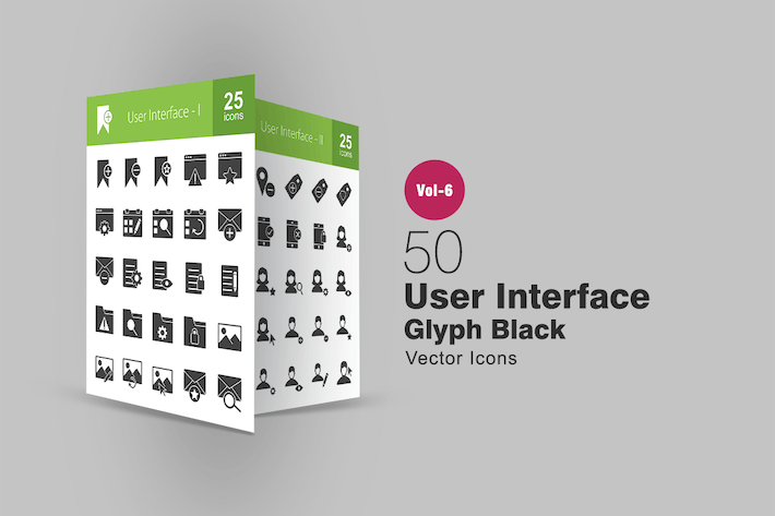 Thumbnail for 50 User Interface Glyph Icons