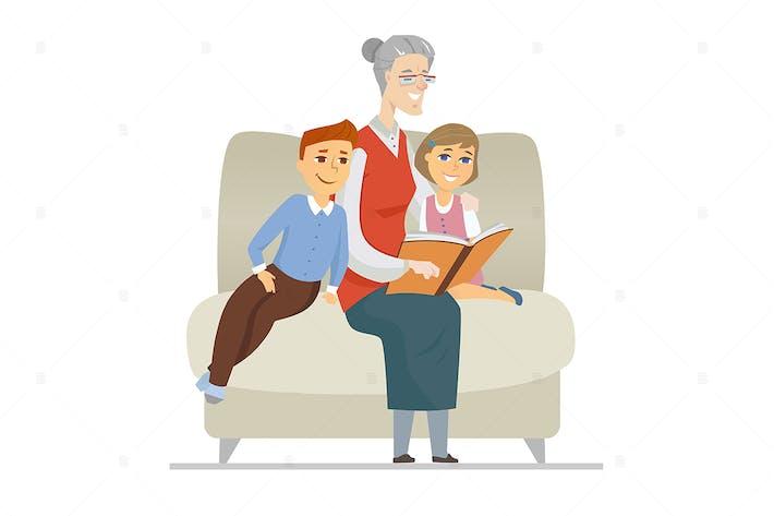 Grandmother reading to grandchildren illustration
