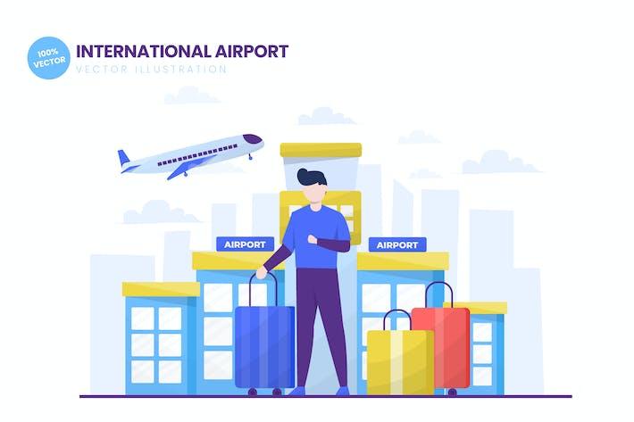 Thumbnail for International Airport Flat Vector Illustration