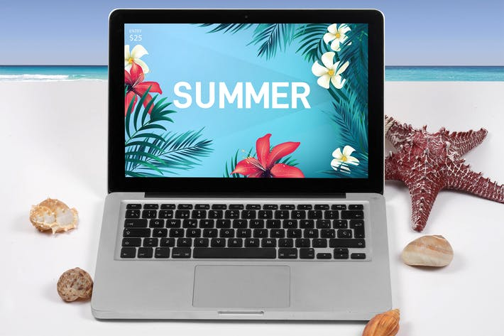 Thumbnail for Laptop Summer Mock Up
