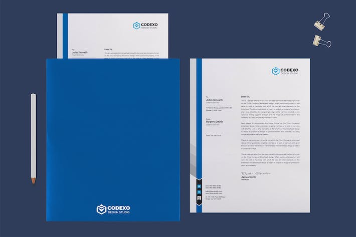 Thumbnail for Letterhead Letter and Folder Mock Up
