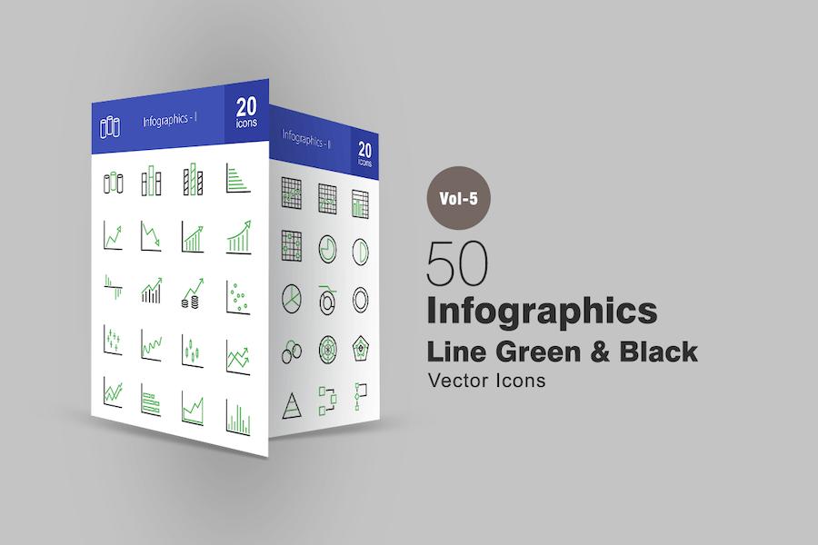 40 Infographics Line Green & Black Icons