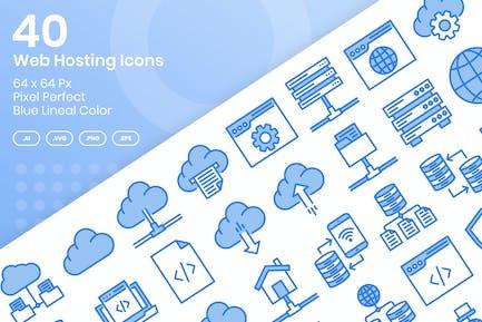 40 Web Hosting Icons Set - Blue Lineal Color