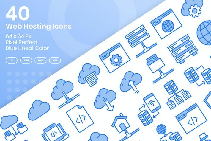 Thumbnail for 40 веб хостинг Иконки Set - синий цвет линии