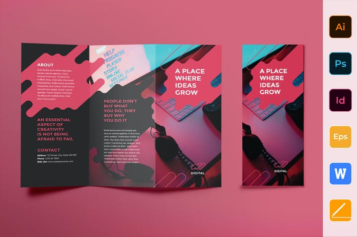 Cover Image For Digital Advertising Agency Brochure Trifold