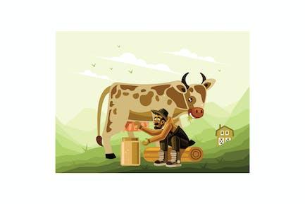 Bauer Melken eine Milchkuh