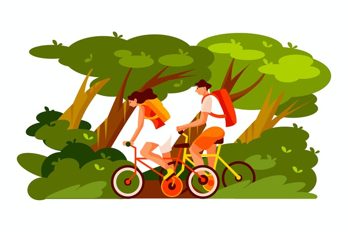 Thumbnail for People riding a bike in the park
