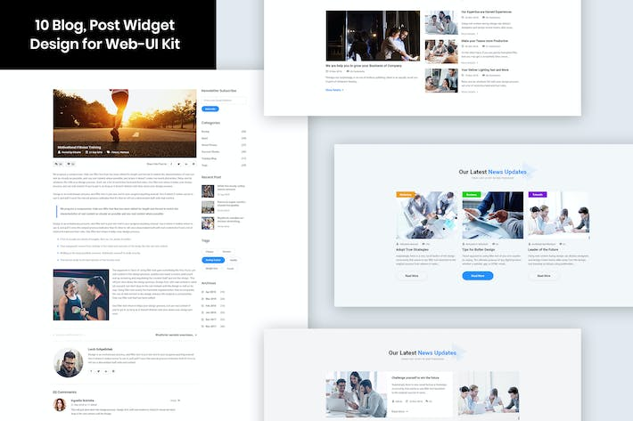 Thumbnail for 10 Blog, Post Widget Design for Web-UI Kit
