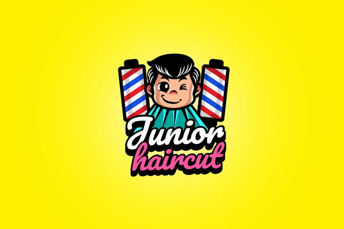 kid haircut - Mascot Logo